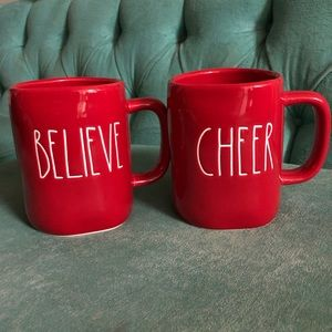 Rae Dunn Holiday - Rae Dunn red believe and cheer mugs